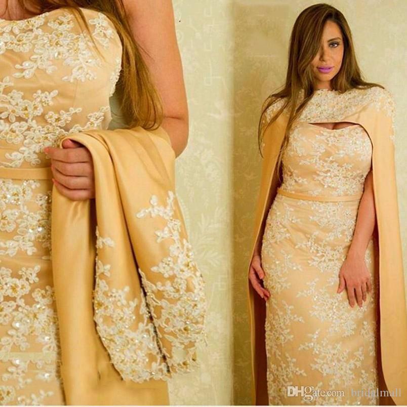 White Lace Applique Arabia arabo oro raso guaina Abiti da sera con Cape partito convenzionale abiti Mermaid vestito lungo Vestidos de fiesta