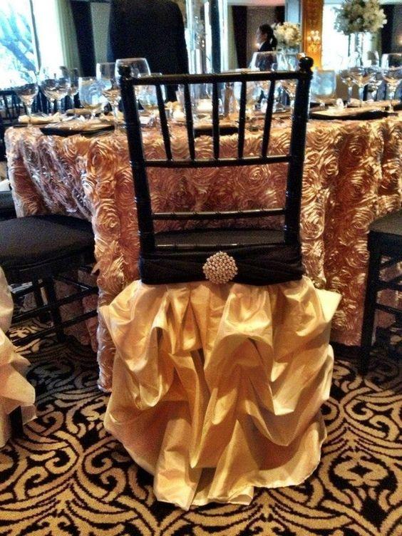 2016 Gold Taffeta Pearls Draped Chair Sashes Romantic Beautiful Chair Covers Cheap Custom Made Wedding Supplies