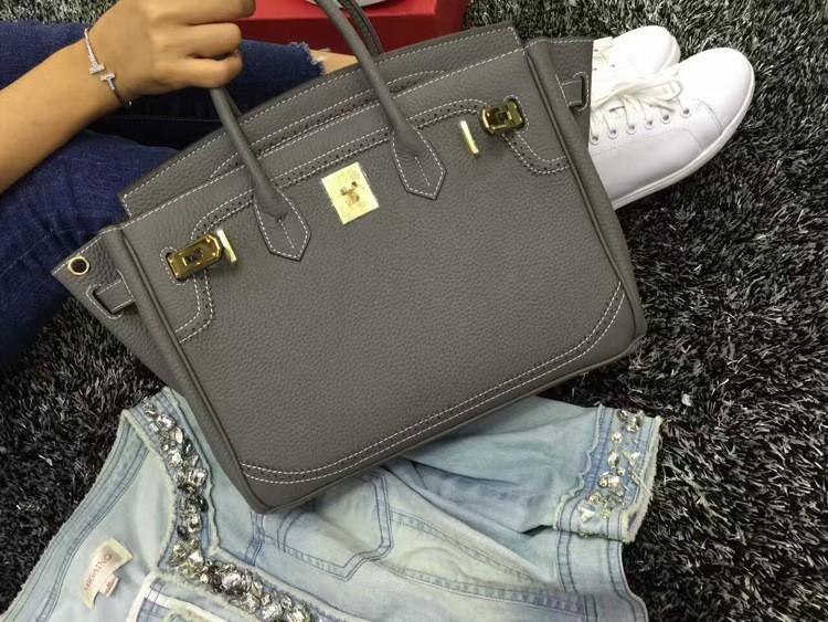 2016 Luxury H Handbag Women\`s Litchi Cowhide Messenger Bag Genuine Leather Famous Designer Shoulder Crossbody Totes Ladies Bolsa (1)
