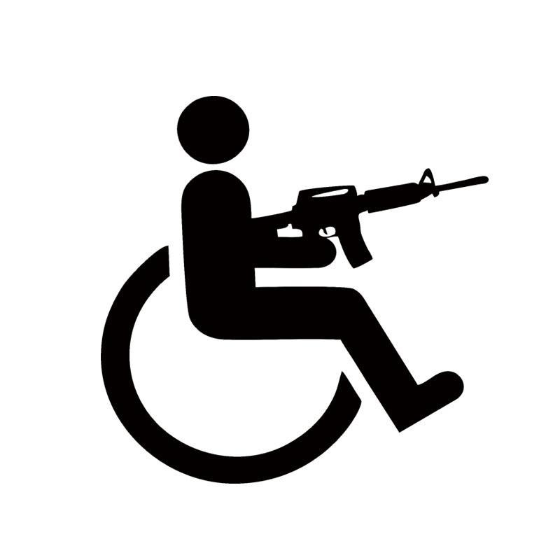 Vendita calda Handicappato per sedia a rotelle Gun Divertente Vinyl Decal Car Sticker Car Stying Jdm