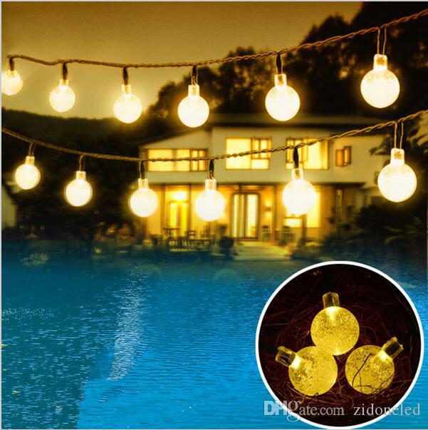 6M 30 LED Crystal Ball Solar Powered Fairy Lights Holiday Christmas LED Solar String Lights for Outdoor Garden Fence Decoration