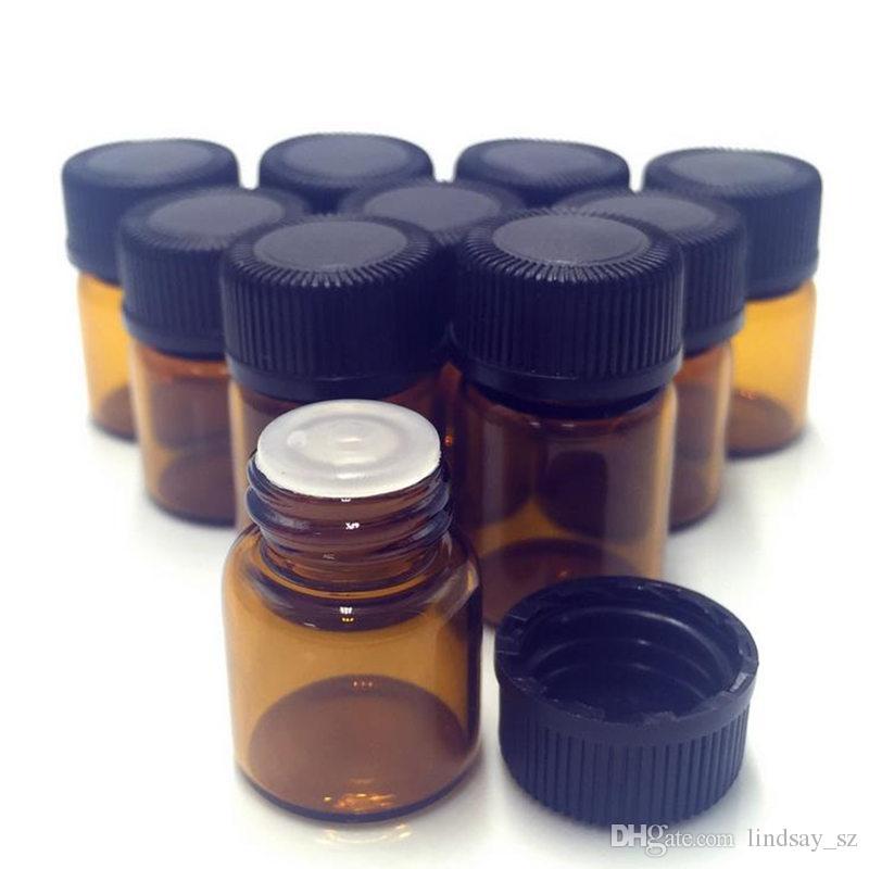 1 ml (1/4 DRAM) Ámbar de vidrio Botella de aceite esencial Tubos de perfume Botella con tapones y tapas Envío rápido