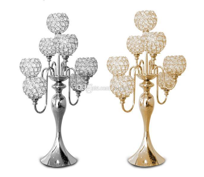 20 unids / lote 7 brazos de cristal suelo de metal candelero de oro / plata candelabros para la boda candelabro pieza central decoración candelabro