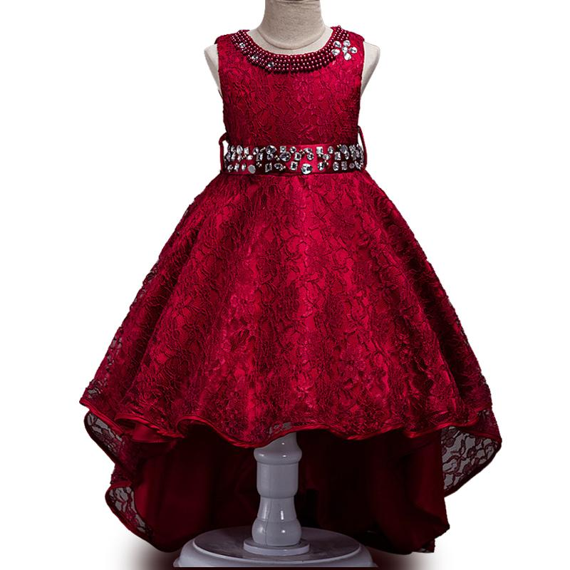 Free Shipping 3-14T Flower Girl Train Wedding Dresses Girl High Quality Pearl Bright drill Tutu dress Lace Princess Party Dresses