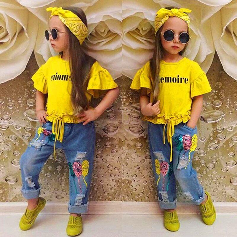 아기 여자 옷 여름 가을 정장 옐로우 문자 반팔 T 셔츠 + 청바지 + 머리띠 3pcs / 세트 장식 조각 풍선 바지 아이 옷 세트