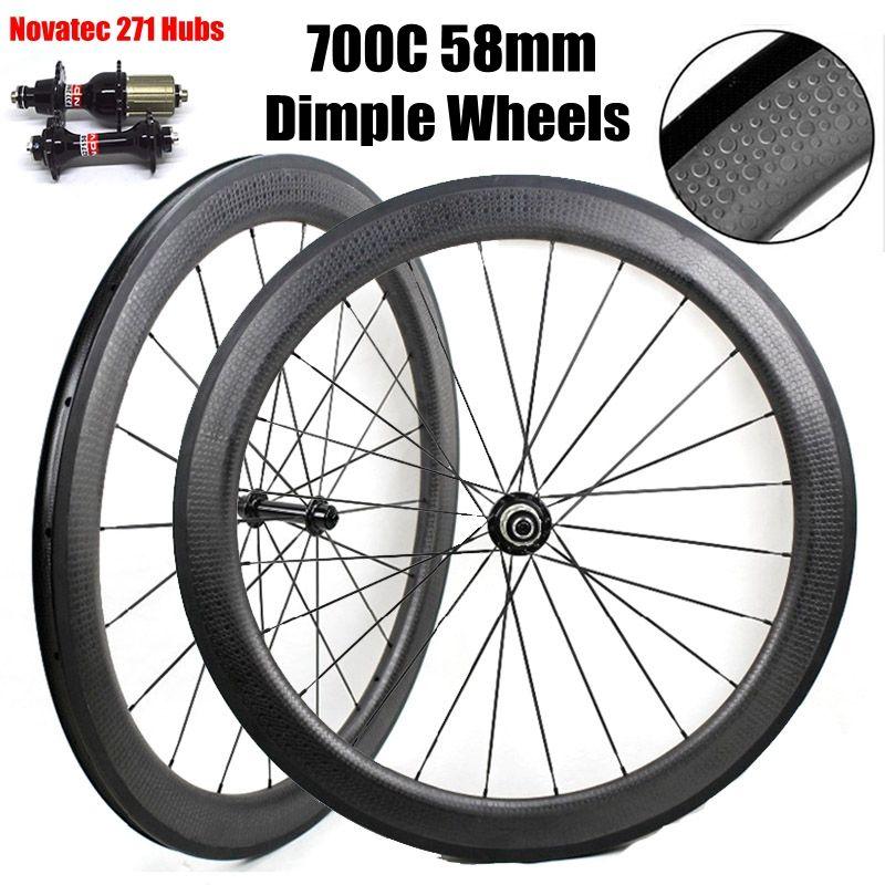 700c dimple surface carbon wheelset  58mm dimple clincher//tubular carbon wheel