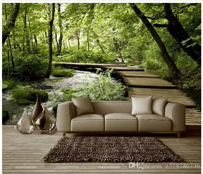 3d Photo Wallpaper Custom 3d Wall Murals Wallpaper Small Bridge Water Wood Bridge Forest 3d Stereo Background Wall Paper Living Room Decor Wallpaper