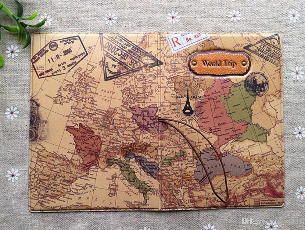 10pcsx السفر رحلة جواز السفر حامل بطاقة غطاء 3d كاميرا / الجمجمة مع زهرة بو الجلود محفظة جواز سفر