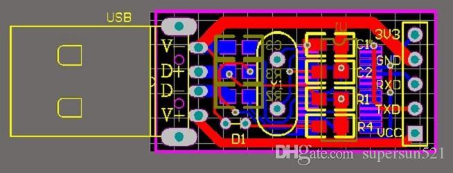 PL2303 usb 직렬 ttl PCB 파일 pl2303 회로도 및 pcb 디자인 파일 USB 직렬 TTL 무료 배송