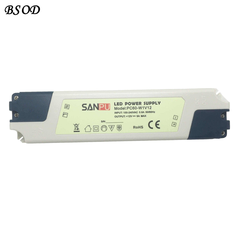 SANPU PC60-W1V12 LED التيار الكهربائي 12V 60W محول ماكس 5A سائق البلاستيك الأبيض شل IP44 للالمصابيح مصابيح