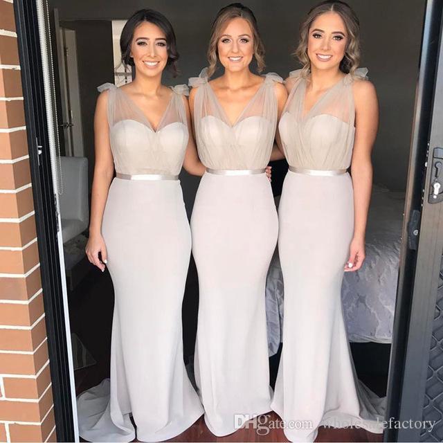 Nuovi abiti da damigella d'onore del collo di Schermo a V progettato per la sposa 2017 nuovi abiti da sposa abiti da sposa abiti da sera party abiti da sera