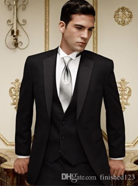 Recién llegados Dos botones Black Groom Txedos Muesca Solapa Mejor hombre Groomsman Men Trajes de boda Bridegroom (chaqueta + pantalones + corbata + chaleco) No: 888