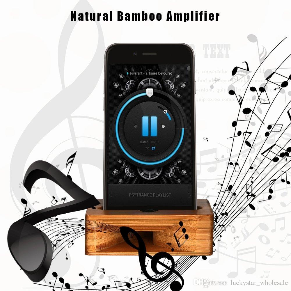 Free DHL Cell Phone Stand Holder Bamboo Wood Dock with Sound Amplifier Natural Stands Within 5.2 Inches for iPhone 7 6s Samsung S6 S7 S8