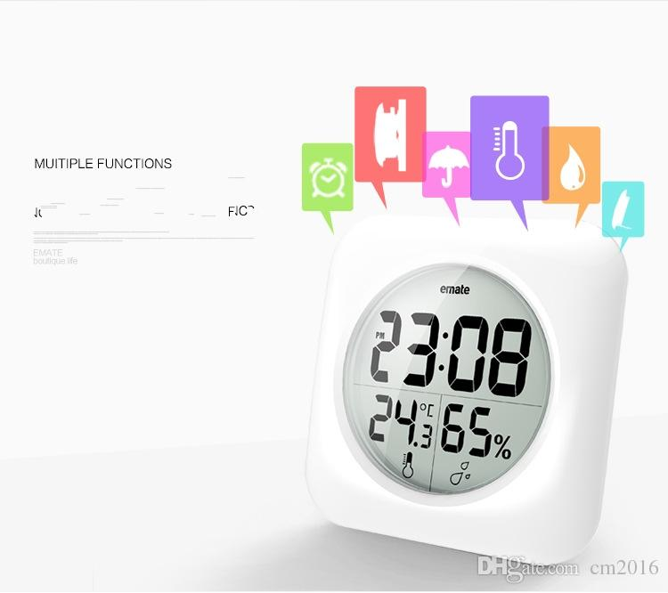 Emate Fashion Wasserdichte Dusche Zeit Uhr Digital Badezimmer Küche Wanduhr  Silber Big Temperatur Und Feuchtigkeit Display ...