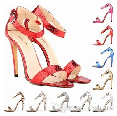 2017 New Arrival Ladies Serpentine Sandals Sexy high-heeled Open Toe Shoes 8cm High PU Leather Sandals Fashion Women Shoes 10 Colors