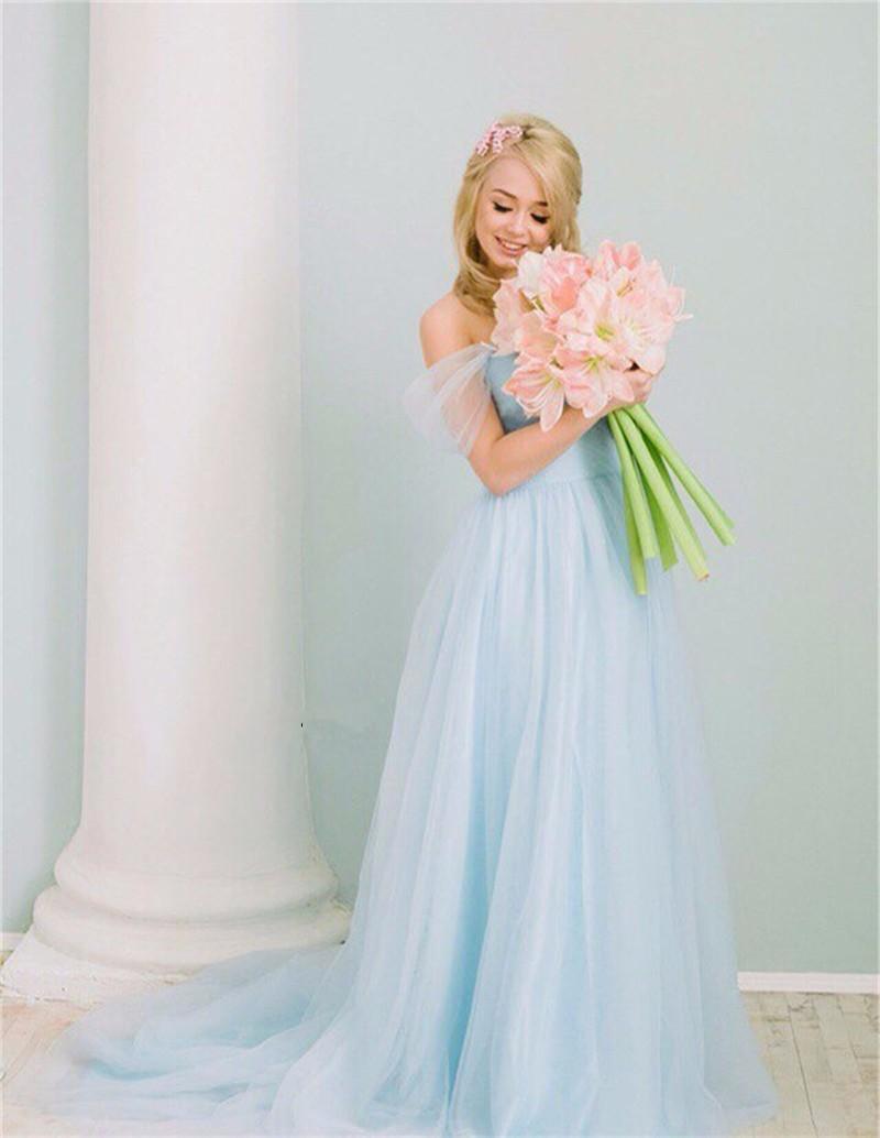 Горячие продажи светло-голубой беременных старинные свадебные платья зашнуровать 2017 с плеча тюль свадебное платье суд поезд vestido де noiva плюс размер