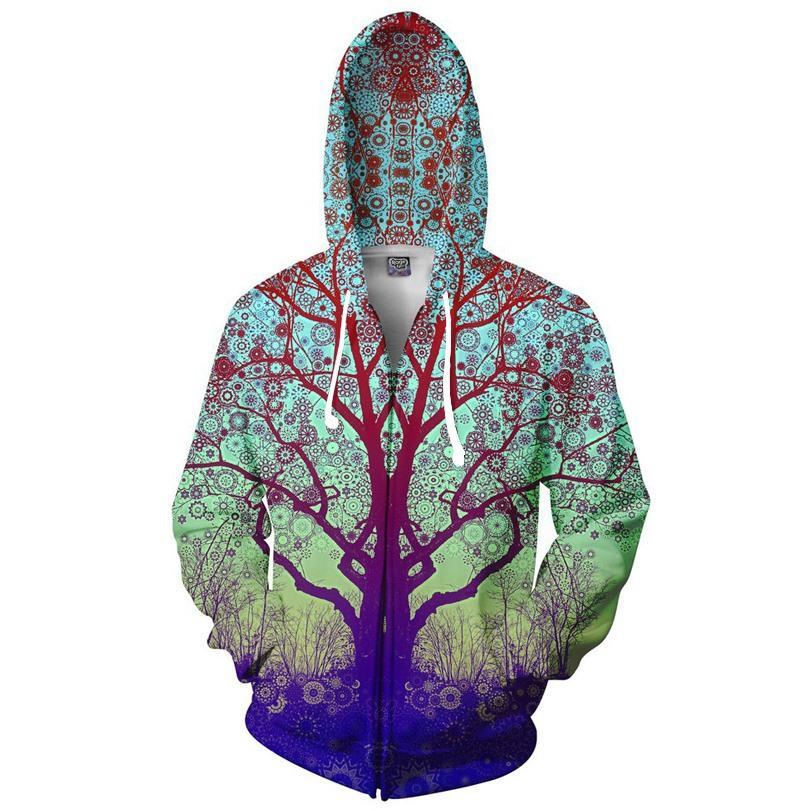 Wholesale-Trip Tree Zip-Up Hoodie Trippy 3d Print Fashion Clothing Women Men Tops Hooded Casual Zipper Sweatshirts Outfits Coats Sweats