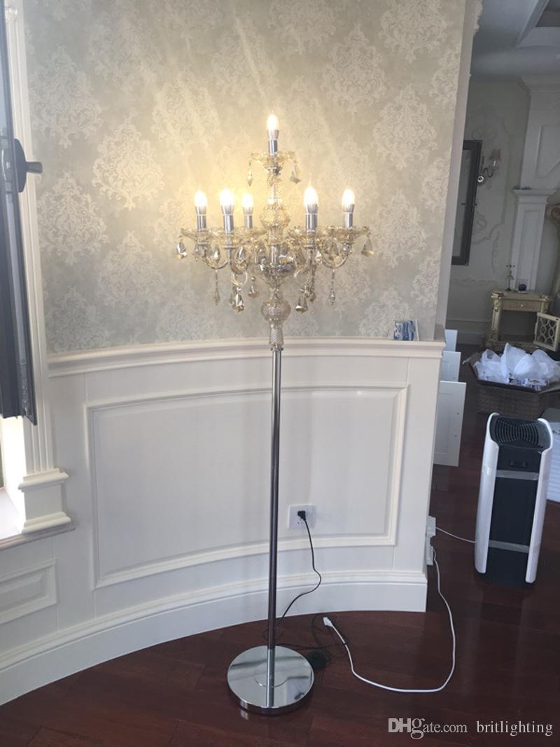 Lampada da terra in cristallo americano idilliaco Mediterraneo Bookroom K9 pavimento di cristallo ristorante sala modello lampada di illuminazione decorativa