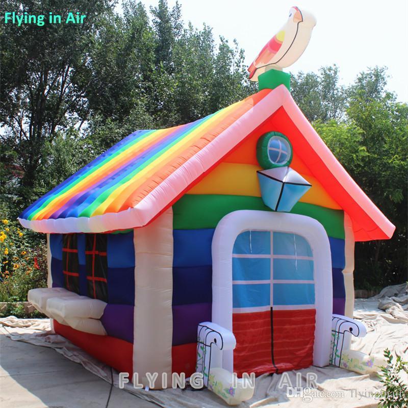 Barraca inflável colorida do arco-íris da casa pequena colorida exterior / interna da altura de 4m
