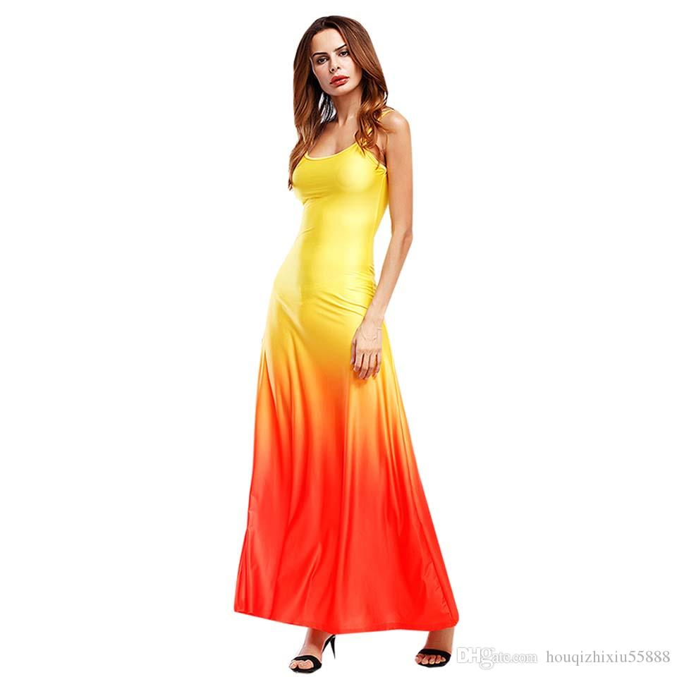 Beach Style Gradient D'été Maxi Gaine Femmes Robe Sexy Spaghetti Strap Sundress Imprimer Dames Longues Robes Jaunes Slim