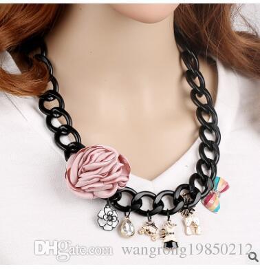 Цветок мультфильм ожерелья Роза цветочный жемчуг бантом ткань искусство ожерелья свитер цепи милый мультфильм ожерелье подарки этап свойства 94