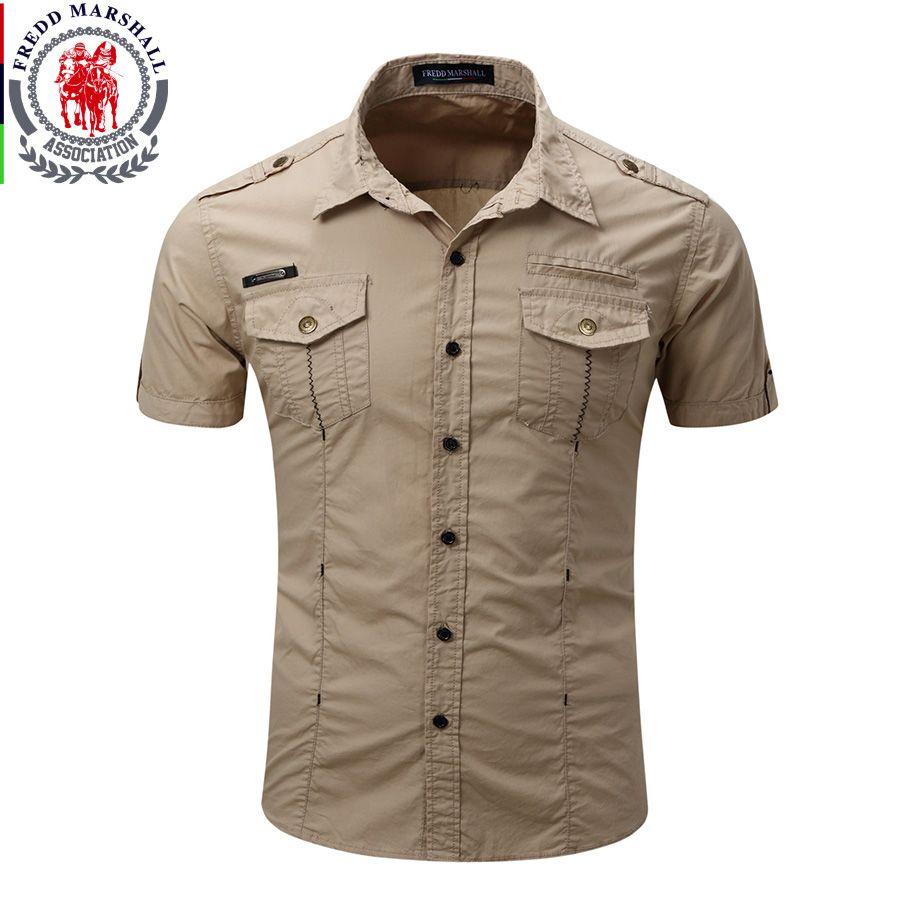All'ingrosso- 2017 arriva la camicia da uomo cargo Camicia casual tinta unita Camicie manica corta Camicia da lavoro con lavaggio standard americano Taglia 100% cotone