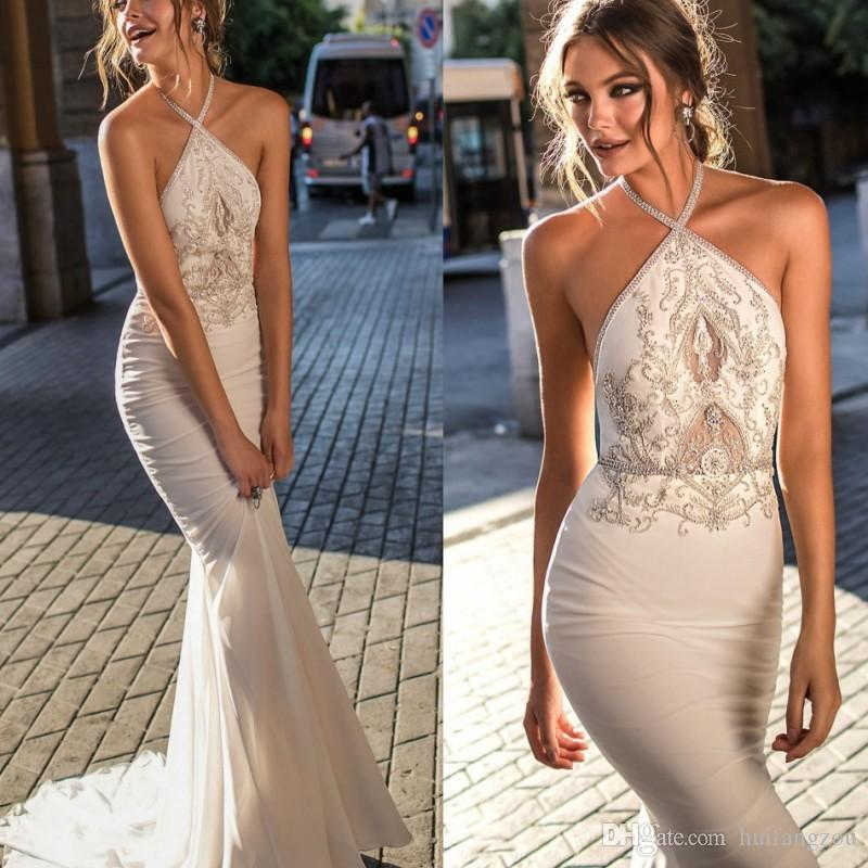 Mermaid Dresses Evening Wear Berta Free Shipping Sleeveless Halter Applique Beads Sequins Sweep Train Custom Made Formal Evening Gowns