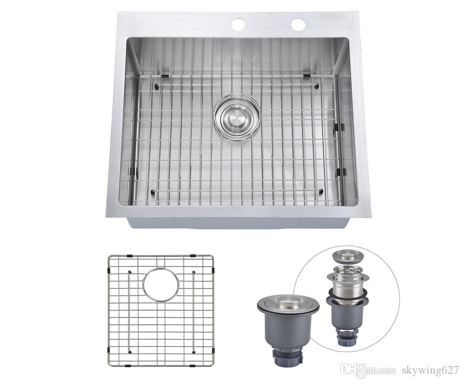 2019 From Usa 25x22 Inch Overmount Stainless Steel Handcrafted Kitchen Sink With Bottom Grid 16 Ga Single Bowl With 2 Faucet Holes Topmount From