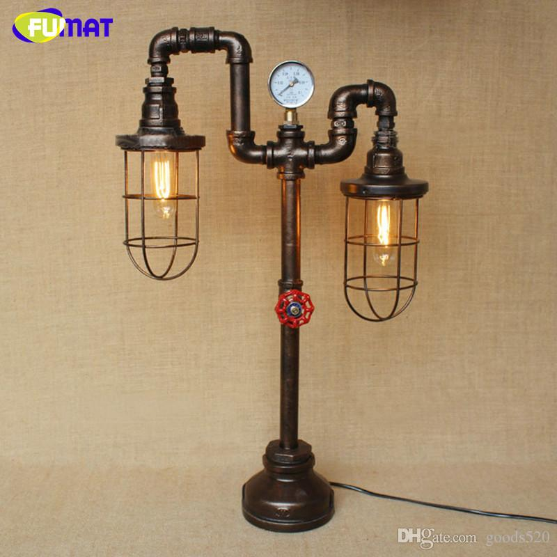 FUMAT Iron Cage Water Pipe Table Lamps Nordic Loft Industrial Vintage Desk Lamp for Restaurant Bar Light Fixture Home Decor Lamp