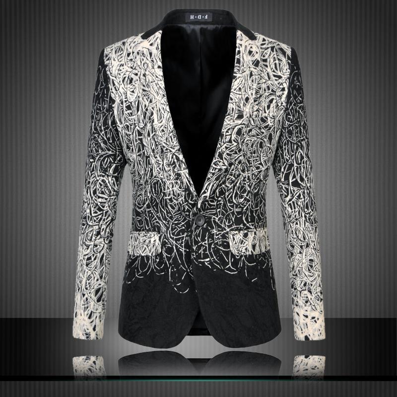 Toptan-Erkek Çiçek Blazers Tasarımlar Trendy Suits Kulübü Vintage Slim Fit Çiçek Baskı Blazers Fantezi Balo Elbise Suits Terno Masculino