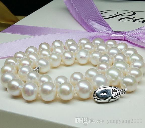 Hot 9-10mm branco mares do sul colar de pérolas naturais 18 polegada 925 fecho de prata ZFE-513