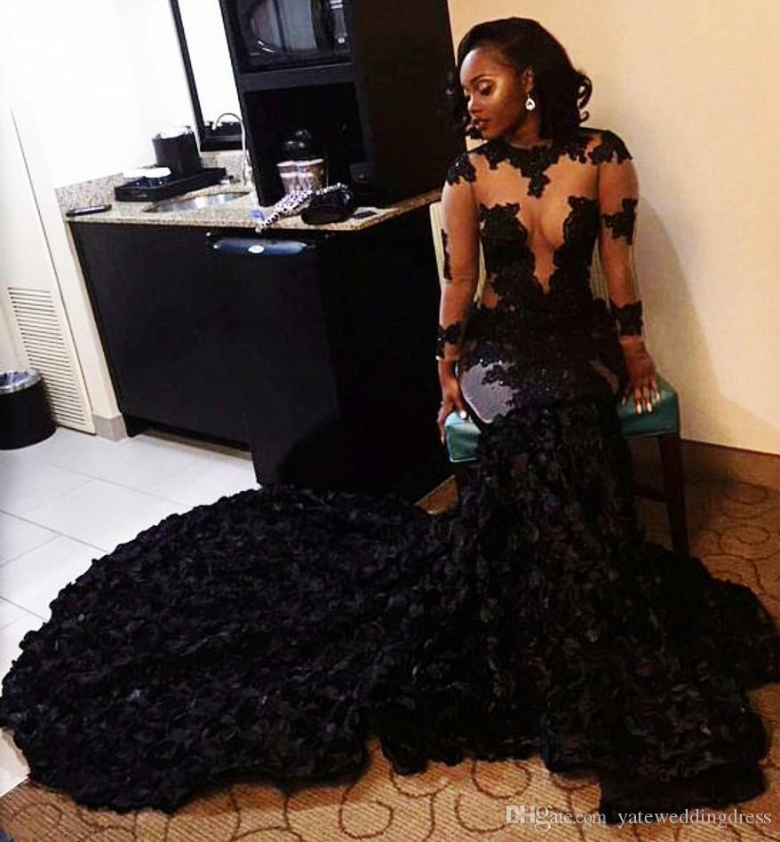 Gorgeous Sexy 2017 Black Evening Dresses Jewel Long Sleeves See Through Top Prom Dresses Pleats Afraic Court Train Custom Made Party Gown
