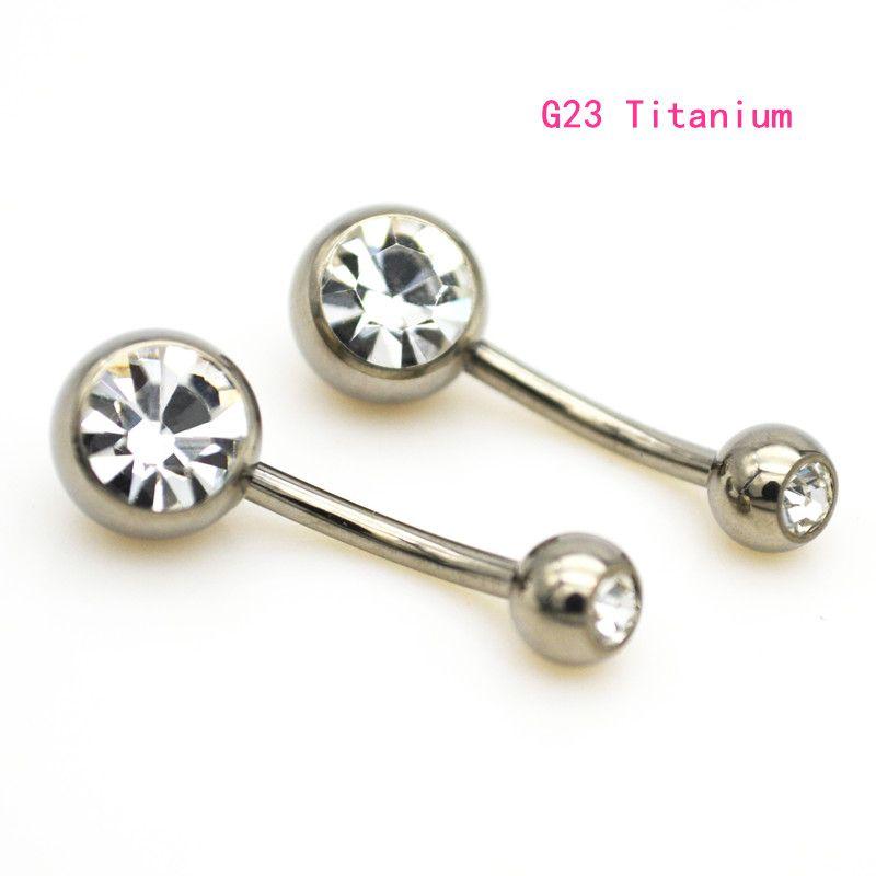 Nuovi anelli dell'ombelico della barra del ventre del titanio G23 curvo i monili penetranti del corpo di modo della doppia gemma di cristallo 14G curvi