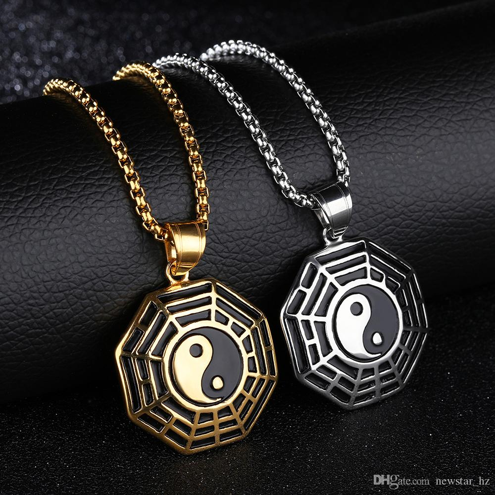 New Tai Chi Bagua Fans Pendant Women Men Compass Artificial Stone Feather Pendants Necklace Stainless Steel Five-pointed Star Skull Necklace