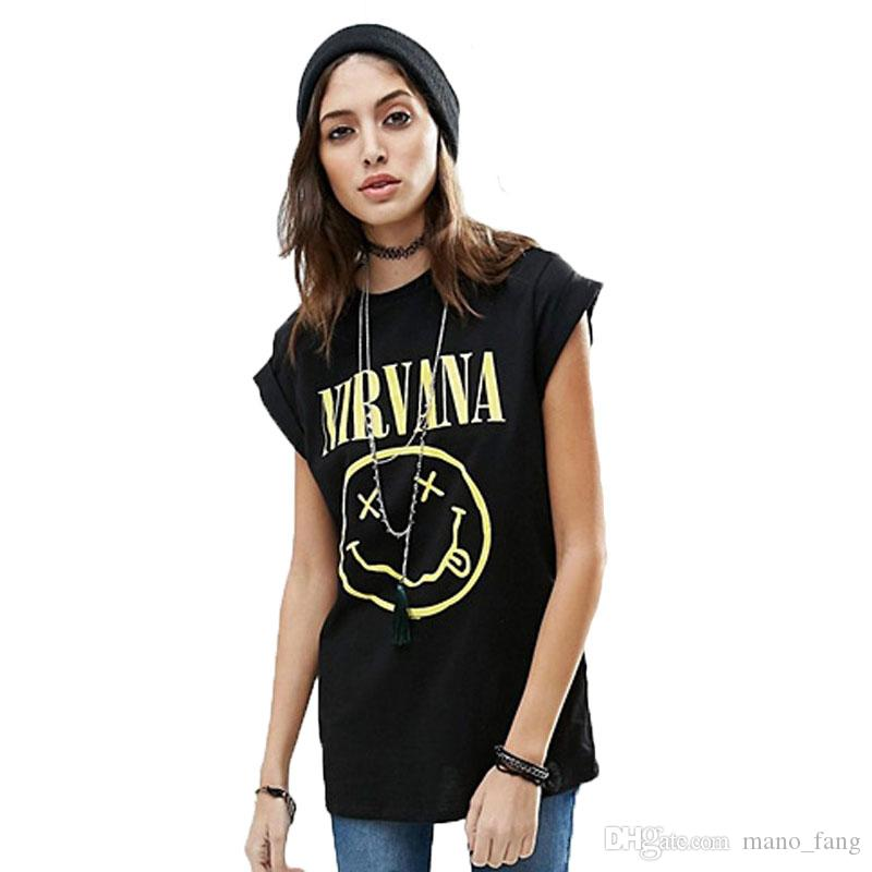 NIRVANA T-Shirts Women Smile Face t-shirt Womens Tees Cotton Rock T-shirt New