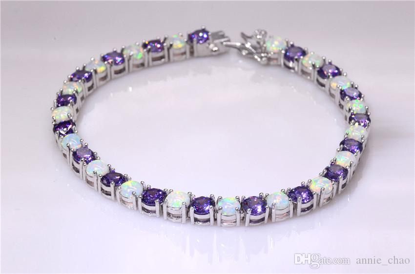 Moda al dettaglio all'ingrosso 7,5 pollici Fine Rinbow bianco fuoco opale braccialetto 925 sterling gioielli in argento per donne _DSC3189