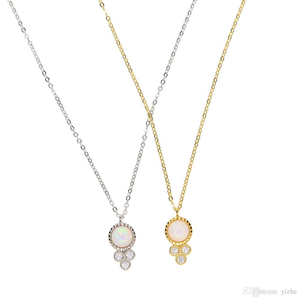 2017 prosty delikatny krzyż cienki łańcuch 925 sterling srebrny biały ogień opal okrągły wisiorek srebrny złoty naszyjnik