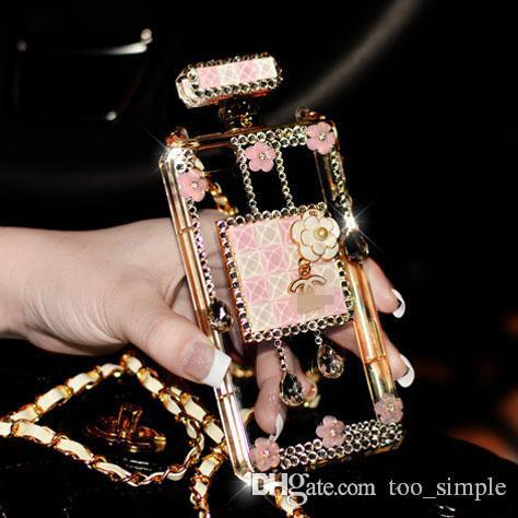 Luxury Perfume Bottle Diamond Crystal Metal Chain TPU Clear Protective Case For iphone 7 6 6s Plus Samsung Galaxy S8 Plus S7 Cover