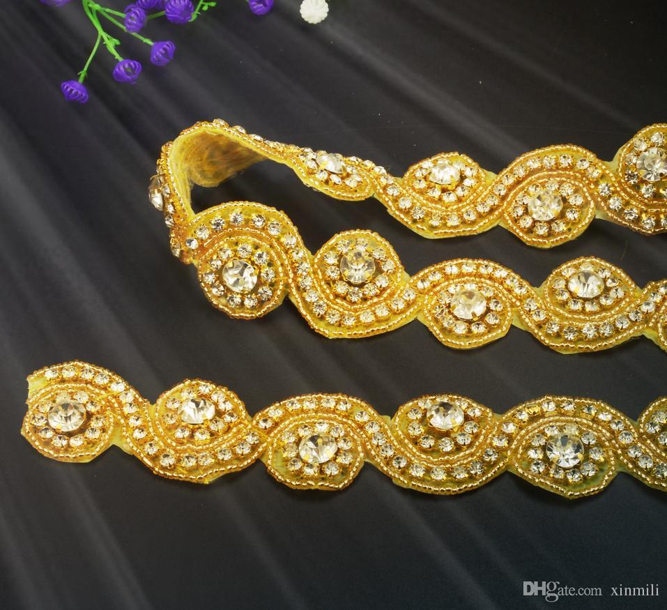 Shippment gratuito! nuova moda in oro base Craft Braide Bordato Strass Lace Trim Costume Applique Cucire su Trim 2 yards / lotto