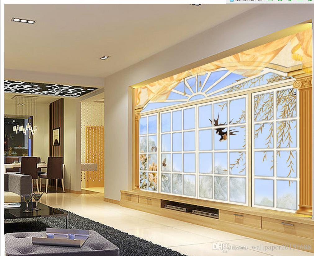 Papier Peint Pour Chambre acheter fenêtre papier peint papier peint 3d papier peint pour chambre  style européen Élégant fenêtre fond mur salon moderne fonds décran de 5,8 €  du