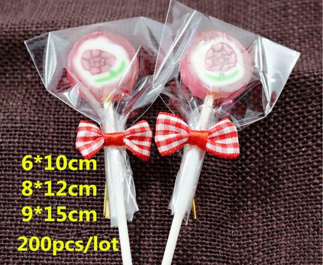 200pcs all'ingrosso / lotto Sacchetti di plastica Samll 3size Cancella Cellophane torta Borse Lollipop Bakery regalo Cookie Imballaggio Imballaggio di trasporto