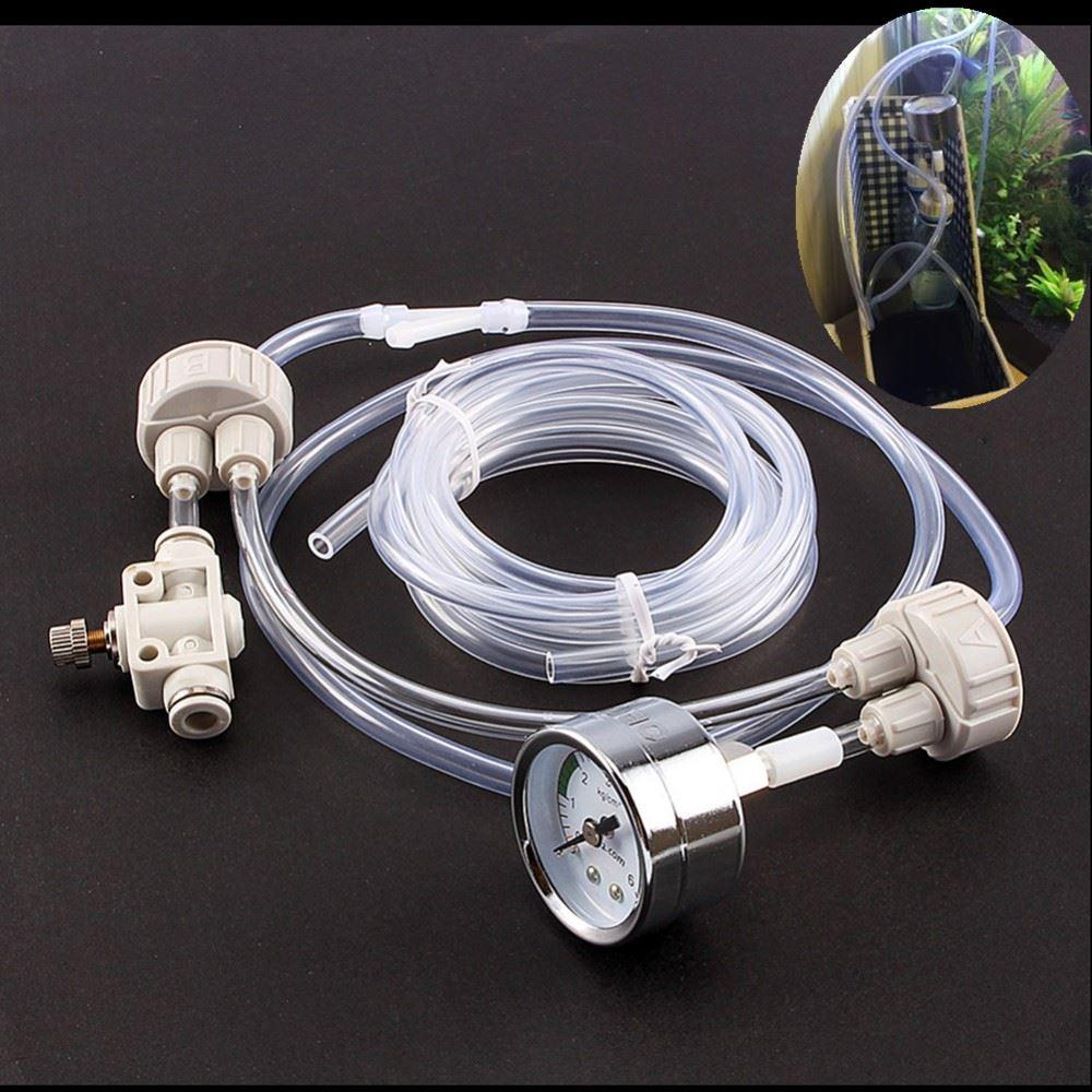 Aquarium DIY CO2 Generator System Kit with Pressure Air Flow Adjustment Water Plant Fish Tank Aquarium Co2 Valve