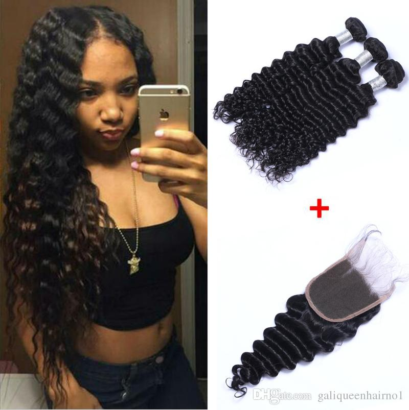 Brazilian Deep Wave Human Virgin Hair Weaves With 4x4 Lace Closure Frontal Bleached Knots 100g/pc Natural Color Double Wefts Hair Extensions