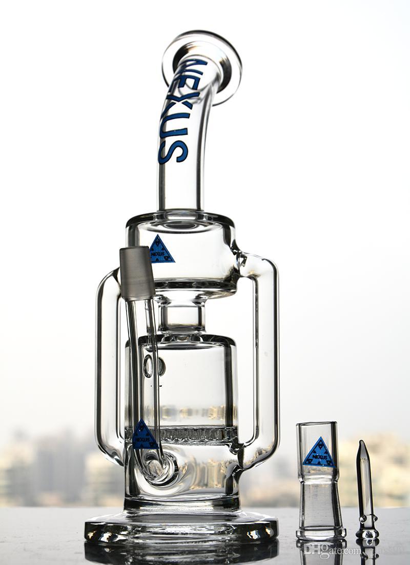 새로운 넥서스 디자인 글래스 옹이 돔과 네일 14mm 조인트가 장착 된 이중 리사이클 퍼크 글라스 파이프