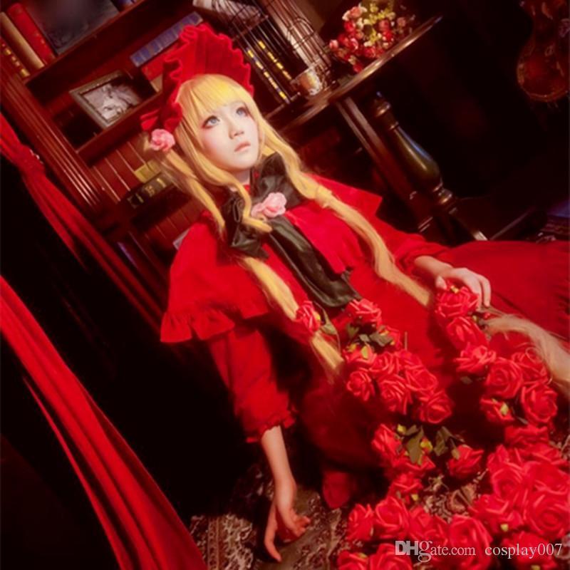 Reiner Rubin trajes cosplay lolita vermelho vestido de anime Japonês Rozen Maiden roupas Masquerade / Mardi Gras / trajes de Carnaval