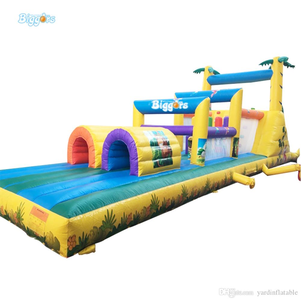 Commercial Exciting Multi-level Inflatable Obstacle Course Game Racing Track Slide Sports Game for Kids and Adults