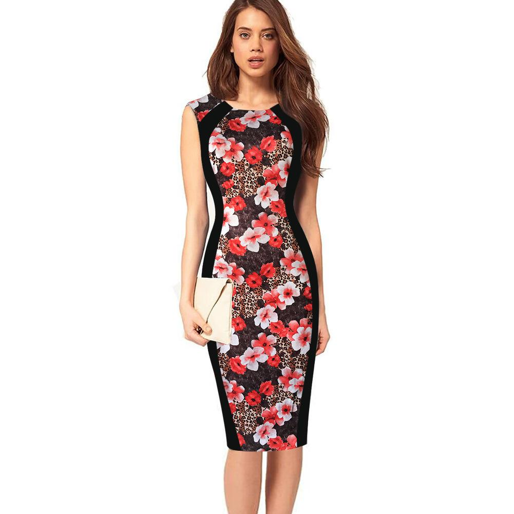 New Fashion Womens Elegant Print Optical Illusion Slim Tunic Contrast Patchwork Work Office Casual Party Club Fit Pencil Dress