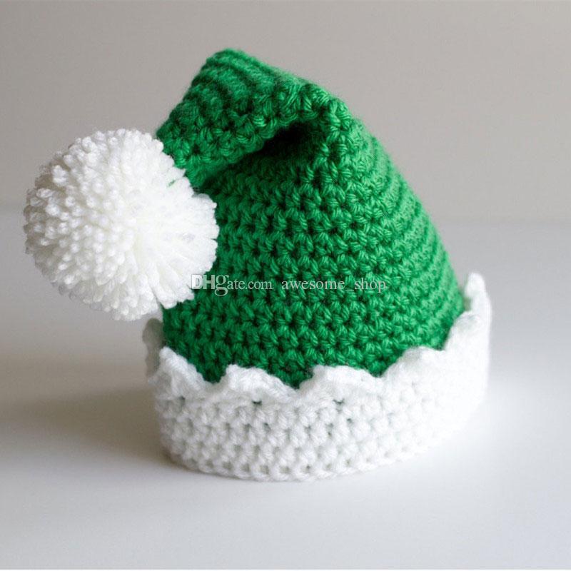 Novelty Santa Elf Hat,Handmade Knit Crochet Baby Boy Girl Christmas Pom Pom Hat,Kids Winter Beanie,Infant Toddler Photography Props