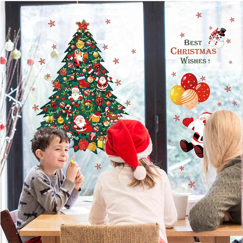 Christmas DIY Home Decor, Christmas Tree Santa Claus Wall Stickers Wallpaper, Window Glass Decorative Wall Decal, BEST CHRISTMAS WISHES