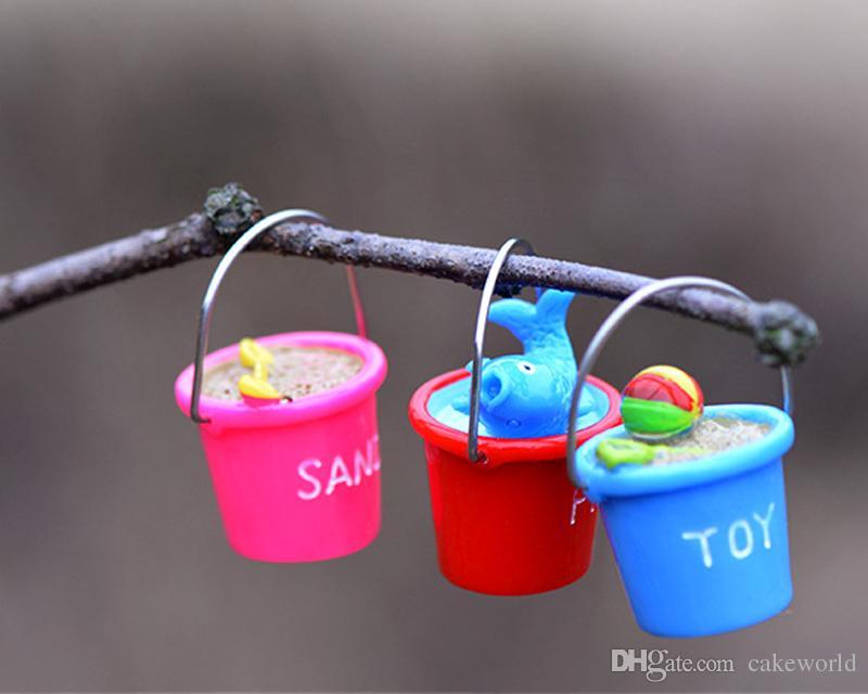 9pcs Beach secchio miniature figurine terrario bonsai mestiere della resina fairy garden gnome Micro Landscape decoracion jardin